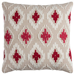 Red Diamond Textured Pillow
