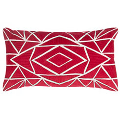 Red Geometric Accent Pillow