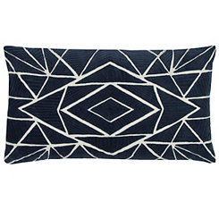 Dark Blue Geometric Accent Pillow