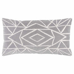 Gray Geometric Accent Pillow