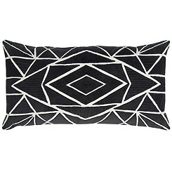 Black Geometric Accent Pillow