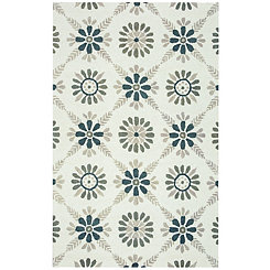 Green Floral Area Rug, 5x8