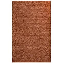 Orange Semicircle Solid Area Rug, 5x8