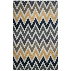 Colorblock Chevron Area Rug,5x8