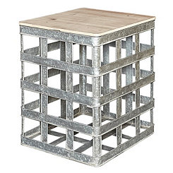 Avianna Galvanized Metal Storage Accent Table