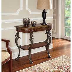 Floral Demilune Console Table with Horse Cast Legs