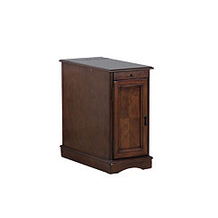 Hazelnut Accent Table with Charging Station