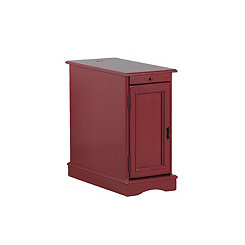 Red Accent Table with Charging Station