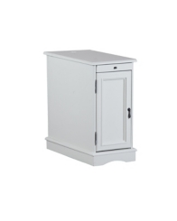 White Accent Table with Charging Station