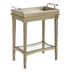 Champagne Accent Table with Removable Tray