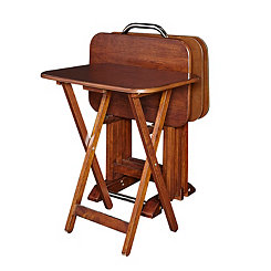 Woodland Cherry 5-pc. Tray Table and Stand Set