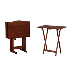 Caren Hazelnut 5-pc. Tray Table and Stand Set
