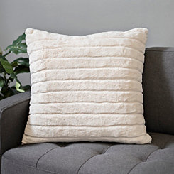 Ivory Stripe Fur Pillow