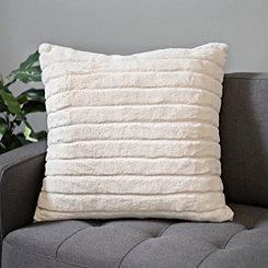 Ivory Stripe Fur Pillow