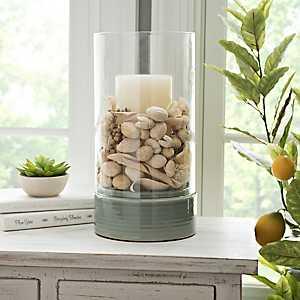 Seafoam Ceramic Base Glass Hurricane