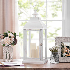 White LED Pillar Candle Lantern