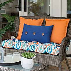 Solid Navy Outdoor Accent Pillow with Buttons