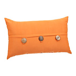 Sunset Orange Button Accent Pillow
