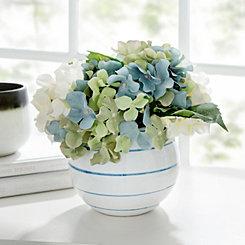Hydrangea Arrangement in Striped Pot