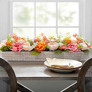 Coral Peony Centerpiece in Wood Crate