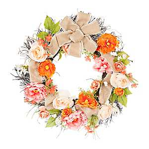 Coral Peony and Burlap Wreath