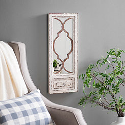 Distressed Cream Door Decorative Mirror