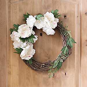 White Peony Half Wreath