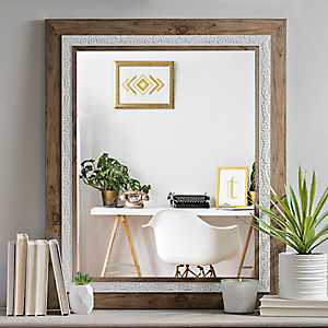 Woodgrain with White Carved Details Wall Mirror