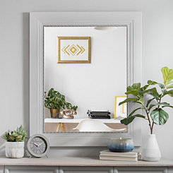 White Woodgrain with Silver Edge Wall Mirror