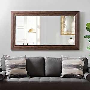 Woodgrain with Copper Edge Ornate Wall Mirror