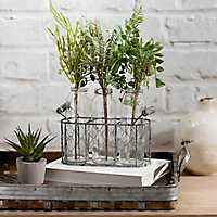 Fern Stems in Glass Bottle Planter