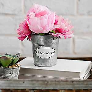 Pink Peonies Arrangement in Galvanized Planter