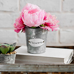 Pink Peonies Arrangement in Galvanized Planter