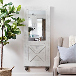 White Distressed Barn Door Decorative Wall Mirror