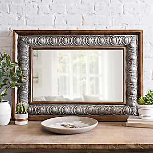 Embossed Galvanized Metal and Wood Mirror