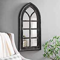 Distressed Black Arch Wall Mirror