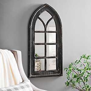 Distressed Black Arch Wall Mirror