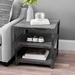 Everest Gray Distressed Industrial Accent Table