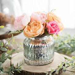 Peach Roses Arrangement in Silver Glass Pot