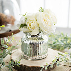 White Roses Arrangement in Silver Glass Pot