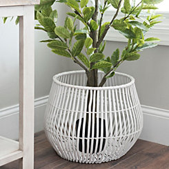 White Ribbed Willow Basket, 14 in.