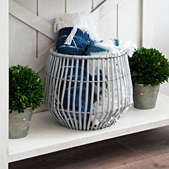 Gray Ribbed Willow Basket, 11 in.
