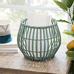 Mint Green Ribbed Willow Basket, 8 in.