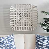 Distressed White Tobacco Basket, 24 in.