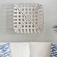 Distressed White Tobacco Basket, 20 in.
