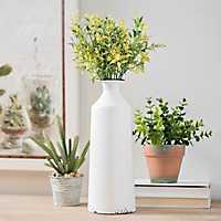 White Enamel Metal Vase, 12 in.