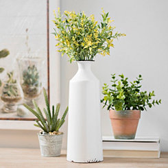 White Enamel Metal Vase, 12 in.