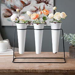 Triple White Enamel Vase Runner