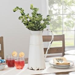 White Enamel Pitcher Vase
