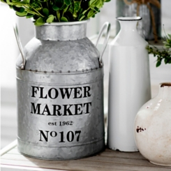 Flower Market Metal Vase, 12 in.
